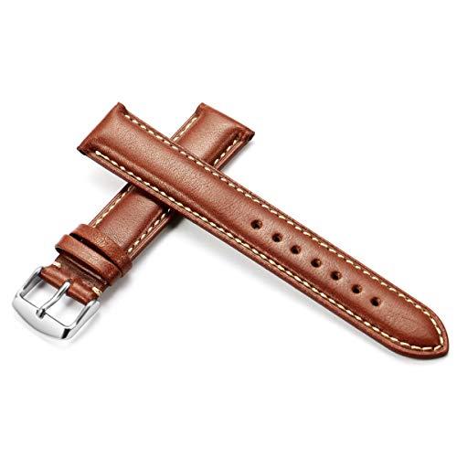 Kalb Armband 18mm 19mm 20mm 21mm 22mm 24mm Uhrenarmband Lederband Männer Frauen, Braun Weiß, 21mm
