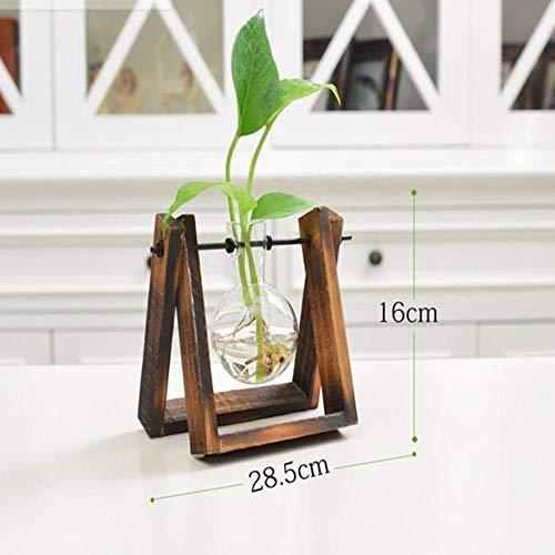 AOM Creative Plant Glas Hydrocultuur container Terrarium decoratie kantoor met houder van hout bloempot decoratie huis 1 boule de verre