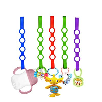 Baby Pacifier Clips,5 Pack Stretchable Silicone Toy Safety Straps,Baby Toddler Bottles Harness Straps for Strollers, Shopping Trolley,Cars,Hanging Baskets,Cribs,Bags by VU