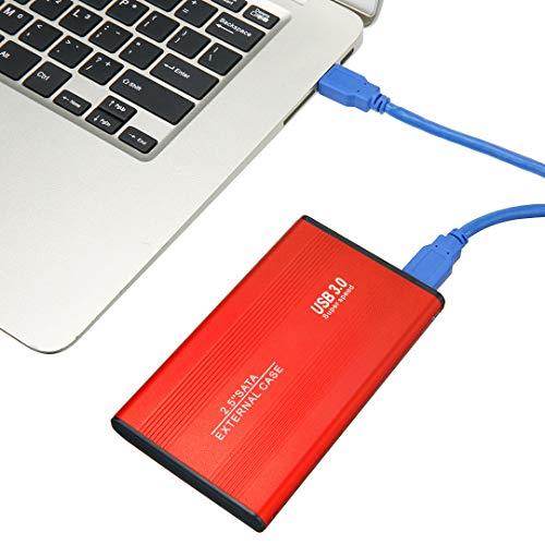 Disco duro externo de 2,5 pulgadas, discos duros externos portátiles USB 3.0 2 TB, disco duro externo para PC, Mac, TV, PS4, Xbox (rojo)