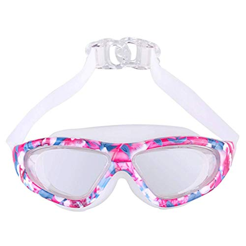 HZWLF Swimming Sports Equipment Goggles Adults Leopard Printing Large Frame Plated Waterproof Anti-Fog Hd Uv Protection for Men Women Junior