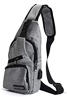 TT WARE Men USB Charging Shoulder Chest Bag Sling Backpack Waterproof Sports Travel Pouch-Grey