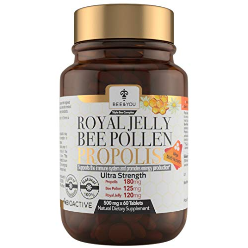 BEE and You Royal Jelly + Propolis + Bee Pollen Tablets – High Potency - No Artificial Flavor - No...