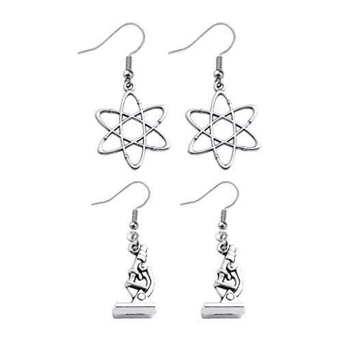 Amosfun 2 Pairs Womens Earring Microscope Molecule Design Stud Earring Piercing Dangle Earrings Casual Jewelry for Women Ladies Birthday Gift Party