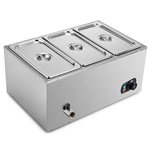 VEVOR 110V 3-Pan Commercial Food Warmer, 1200W Electric Steam Table 15cm/6inch Deep, Professional Stainless Steel Buffet Bain Marie 21 Quart for Catering and Restaurants
