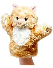 Lashuma Pluszowa lalka kot, puszysta tkanina lalka zwierzęca czerwona, lalka do teatru, lalka ręczna rozmiar 25 cm