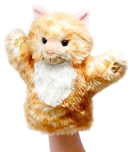 Lashuma Plüsch Handpuppe Katze, Flauschige Stoff Tierpuppe Rot, Kuscheltier Theaterpuppe, Handspielpuppe Größe 25 cm