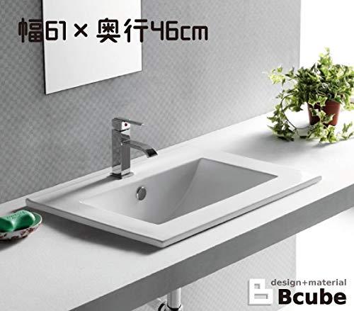 洗面ボウル 陶器 オーバーカウンタータイプ 埋め込み スクエア 幅61cm INK-0402001H