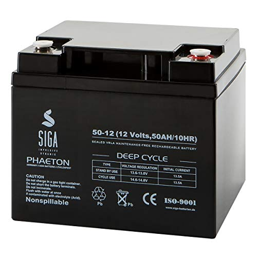 Akku 50Ah 12V AGM Gel Batterie Boot Solar Golf Trolley Caddy ZYKLENFEST 40Ah 45Ah