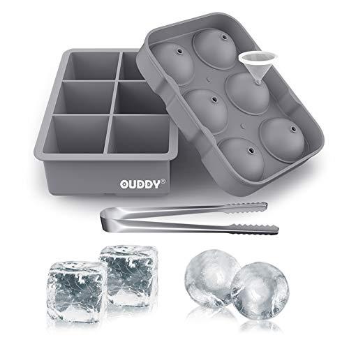 Ouddy アイスキューブトレイ (2個セット) シリコン正方形アイスキューブ型 & 球体 ウィスキー アイスボールメーカー モールド & 漏斗 & クリップ カクテル&バーボン用 (グレー)