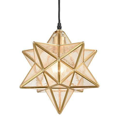 Dazhuan Brass Moravian Star Light in Seeded Glass Pendant Lights Fixture, 11-in
