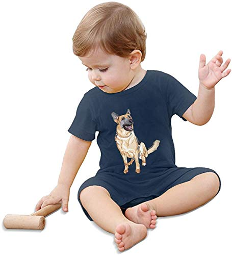 Whgdeftysd German Shepherd Dog Baby Climbing Clothing Baby Short Sleeve Garment Unisex Design Looks Great On Newborn Black,Navy,6 Months