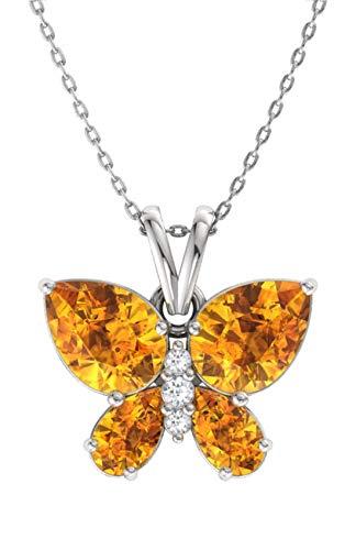 Citrine Diamond Butterfly Necklace