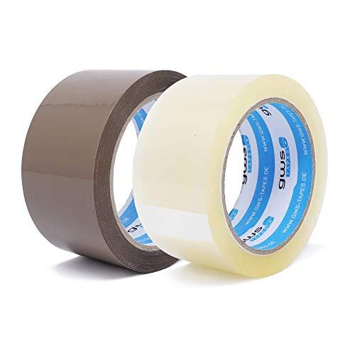 gws Paketklebeband PP leise PROBIER-BUNDLE | geräuscharm abrollend | Packband mit hoher Klebkraft in Profi-Qualität | Länge: 66 m - Breite: 50 mm – Dicke: 50 μm (2, je 1 Rolle transparent/braun)