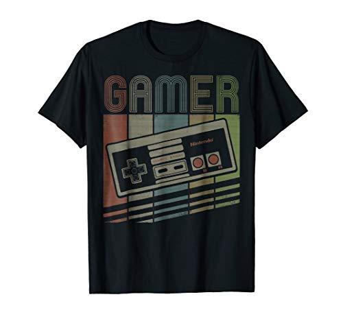 Nintendo NES Controller Gamer Retro Stack Graphic T-Shirt