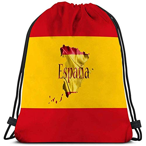 MOTALIN Gym Bag,Bolsa De Gimnasio,Mochila Con Cordón,Saco Mochila Bandera Nacional Española Mapa Nombre Del País Escrito D Gris Oscuro