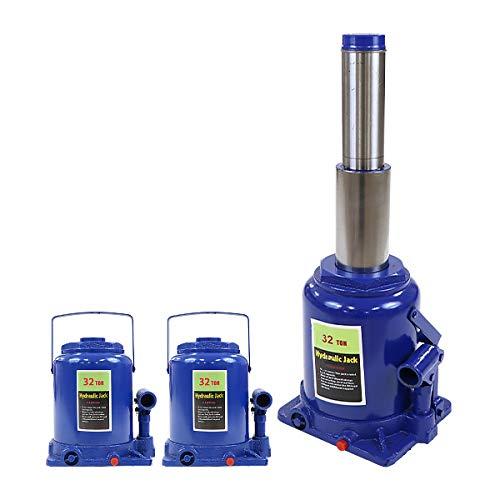ボトルジャッキ 油圧式 定格荷重約32t 約32.0t 約32000kg 2台セット 2個 油圧ジャッキ 二段階 三段階 多段階 だるまジャッキ ダルマジャッキ ジャッキ 手動 安全弁付き ジャッキアップ ハイアップ タイヤ交換 工具 整備 修理 メンテナ