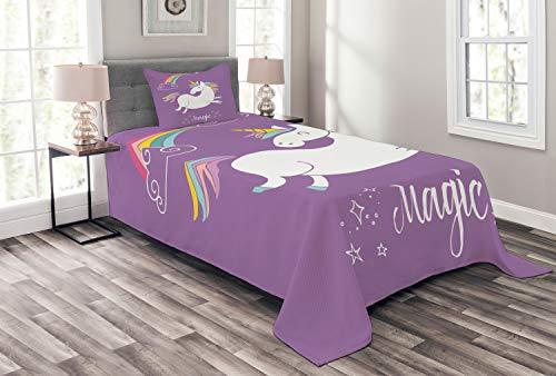 ABAKUHAUS Einhorn Tagesdecke Set, Lila Kinder Regenbogen, Set mit Kissenbezug Moderne Designs, für Einselbetten 170 x 220 cm, Lavander White