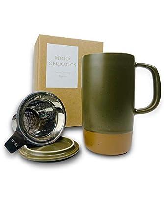 Mora Ceramics Large Tea Mug with Loose Leaf Infuser and Ceramic Lid, 18 oz, Portable, Microwave and Dishwasher Safe, Tall Coffee Cup - Rustic Matte Ceramic Glaze, Modern Herbal Tea Strainer, Olive