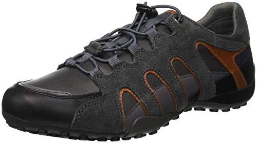 Geox Herren Uomo Snake A Sneaker, Grau (Anthracite/Dk Orange C9a7l), 43 EU