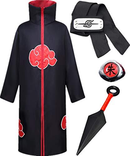 AISHANGYIDE Anime Naruto Akatsuki/Uchiha Itachi Cosplay Vestir Halloween Navidad Cumpleaos Carnaval Fiesta Mascarada Disfraz Naruto Pain Headband Kunai Nio Adulto Unisexo Hokage Ninja Accesorios