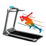 Q2S Folding Portable Treadmill Manual Compact Walking Running Machine for Home Gym Workout Electric Desk Treadmills with LED Display Device Holder Treadmills for Small Spaces