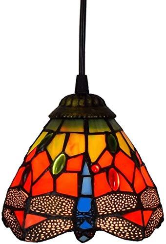 Mini Hanglamp Tiffany Lamp, Libel Hanger Op De Schermen Glas Rode Verlaagd Plafond Lamp 6 Inches Eetkeuken Ijsland, E26 / E27 Verlichting D