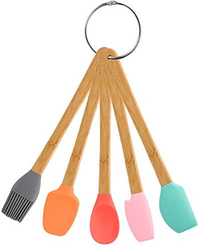Silicone Spatula 5 Pack Mini Spatulas Scrapers with Bamboo Handle Heat Resistant Silicone Spatula product image