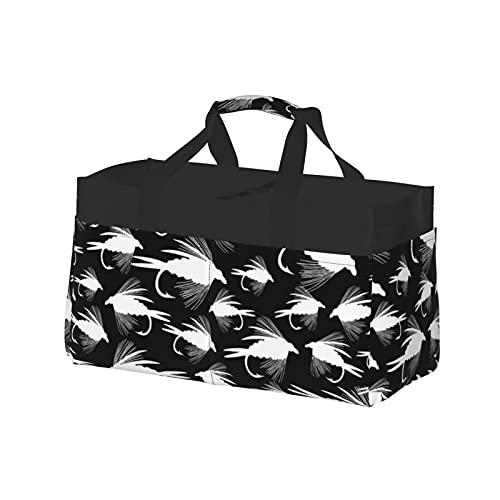 Bolsa extra grande para uso general, cesta de lona de playa, reutilizable, bolsa de compras, señuelos de pesca con mosca