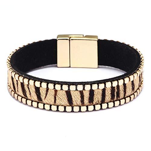 HJPAM Voorbereiding van paardenhaar Legering Dames Leren armbanden Luipaardpatroon Dame Leren armbanden voor dames Wrap armbanden