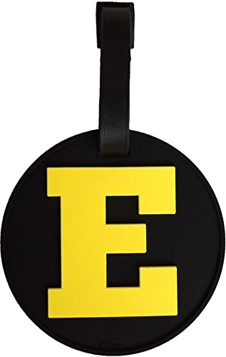 Luggage Tag Initial Letter Bag Tag Alphabet 3-D Personalized Reinforced Bendable Heavy Duty ID Tag W/Identity Protection (E (yellow))
