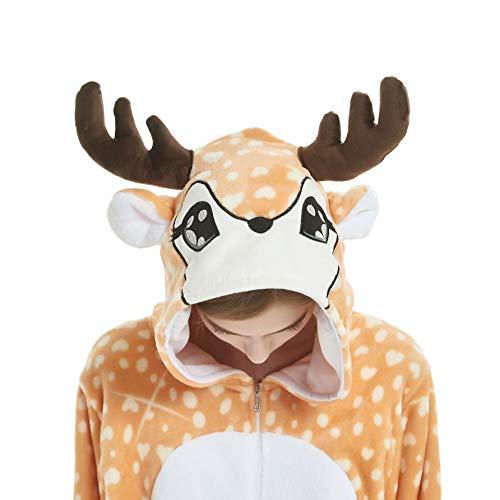 Onesie Pijamas Animal Disfraz Ropa de dormir Halloween Unisex Cosplay Adulto Mujeres Hombres Navidad - marr�n - Large