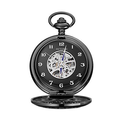 Reloj de bolsillo mecánico de diseño tallado hueco personalizado, reloj de bolsillo de estilo vintage con cadena, regalo para cumpleaños aniversario día navidad padre padre Hombres ( Color : Black B )