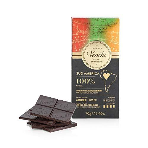 Venchi Tavoletta Sud America 100%, 70g - Cioccolato Extra Fondente 100% dal Gusto Aromatico - Vegano - Senza Glutine
