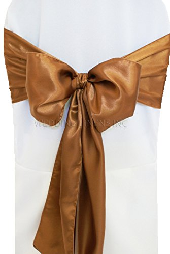 """Wedding Linens Inc. (10 PCS) 7.5"""" x 108"""" Satin Chair Sashes Bow Sash Chair Bows Ties for Wedding Decoration Party Banquet Events - Copper"""