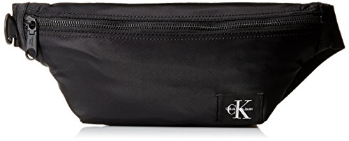 Calvin Klein Men's Zippered Belt Bag with Logo Patch, black, NO NO SIZE
