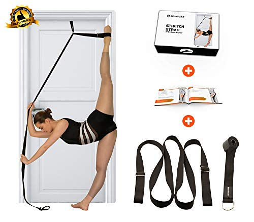 Stretch Strap with Door Anchor – Improve Leg Stretching with Door Flexibility Trainer  Perfect Home Equipment for Ballet Dance MMA Taekwondo Yoga amp Gymnastics Exercises  Booklet amp Box Included