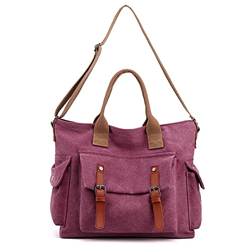 HYZHYZ Bolsas de hombro para mujer, bolsa de lona grande, bolsa de hombro para mujer, para viajes, escuela, trabajo, compras, etc, Purple, Talla única