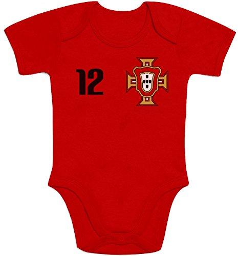 Shirtgeil EM Trikot für Portugal - Baby Fan-Artikel 2020 Baby Body Kurzarm-Body 3-6 Monate Rot