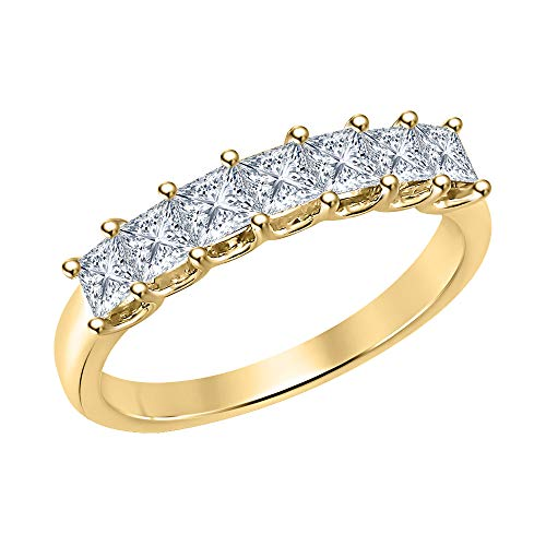 Gold & Diamonds Jewellery 1.50ctw Princess Cut White CZ Diamond Seven Stone Half Eternity 14k Yellow Gold Plated Wedding Band Ring for Womens.