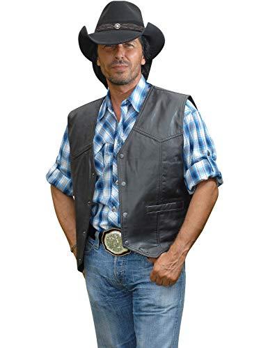 STARS & STRIPES Herren Weste Cowboyweste Herrenweste Lederweste Westernweste Cowboy Country Leder Western Westernstyle »Jason« Gr.XL