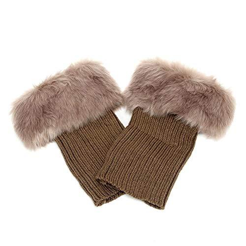 XdiseD9Xsmao Winterwarmers van zacht kunstbont, warm, gehaakt, voor laarzen, toppers, polsen, wandelen, kamperen gereedschap voor dames en meisjes