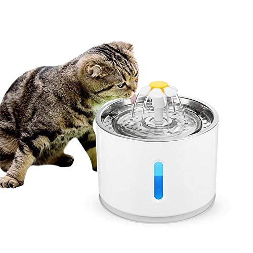 AUOKER LED Cat Water Fountain Dispenser, Stainless Steel Automatic Electric Pet Drinking Fountain with Charcoal Filter, Observable Water Level Pet Water Dispenser for Cats and Dogs