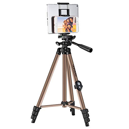 Tripod for iPad iPhone Camera Tablet ,50-inch Aluminum Alloy Tripod + Wireless Remote + 2 in 1 Mount Holder for Smartphone (Width 2.2-3.3'),Tablet (Width 4.3-7.3')