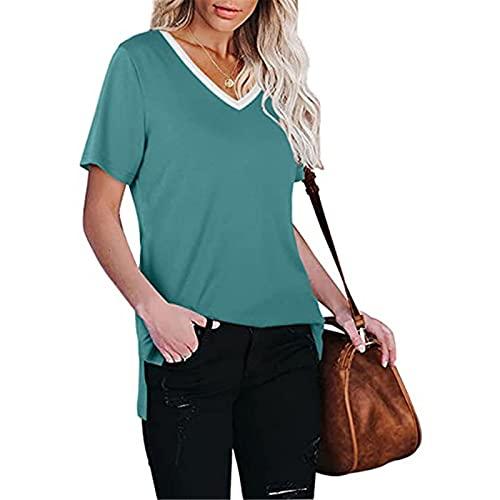 Verano Casual Camiseta de Mujer Color Liso Camisas Mujer Manga Corta Suelta Blusas de Mujer Cuello en V Elegante Tops de Ablandado Informal Cómodo Damas Túnica Ideal para Trabajo,Cita,Fiesta