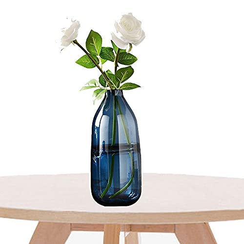 LXLAMP jarrones Decorativos de Suelo Altos,jarrón Decorativo jarrón Cristal para la Decoración del Escritorio de la Oficina en el Hogar,Cena,Fiesta y Bodas (Color : Smoky Blue)