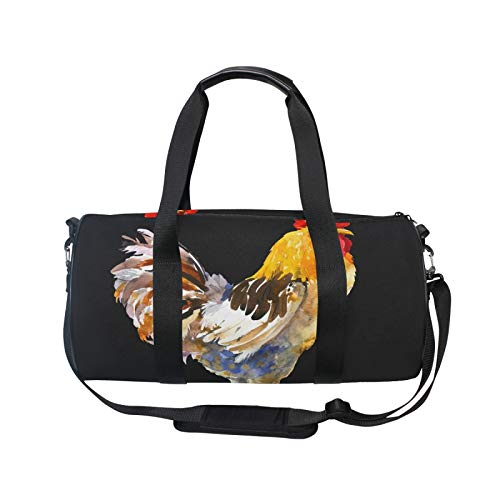 TropicalLife RELEESSS Sport-Turnbeutel, Wasserfarben, Hahn, Tier, leicht, Reisetasche, Mehrzweck-Nutzung für Männer und Frauen