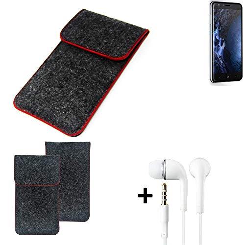 K-S-Trade Handy Schutz Hülle Für Doogee Y6 4G Schutzhülle Handyhülle Filztasche Pouch Tasche Hülle Sleeve Filzhülle Dunkelgrau Roter Rand + Kopfhörer