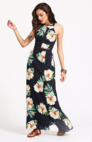 Floerns Women's Sleeveless Halter Neck Vintage Floral Print Maxi Dress (Small, Navy-beige) …