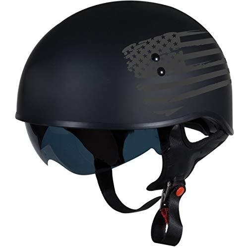 "TORC T55 Spec-Op Adult Half Helmet with 'Flag"" Graphic (Flat Black, Medium)"